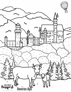 printable and digital coloring page of neuschwanstein castle in Germany