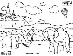 Elephants in Chiang Mai Thailand Coloring Page