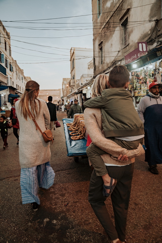 walking in a Morocco Market with kids