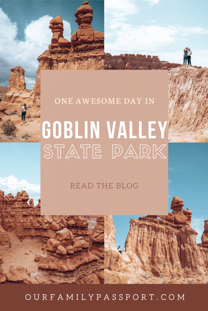 Pin image that says one awesome day in goblin valley state park, read the blog.