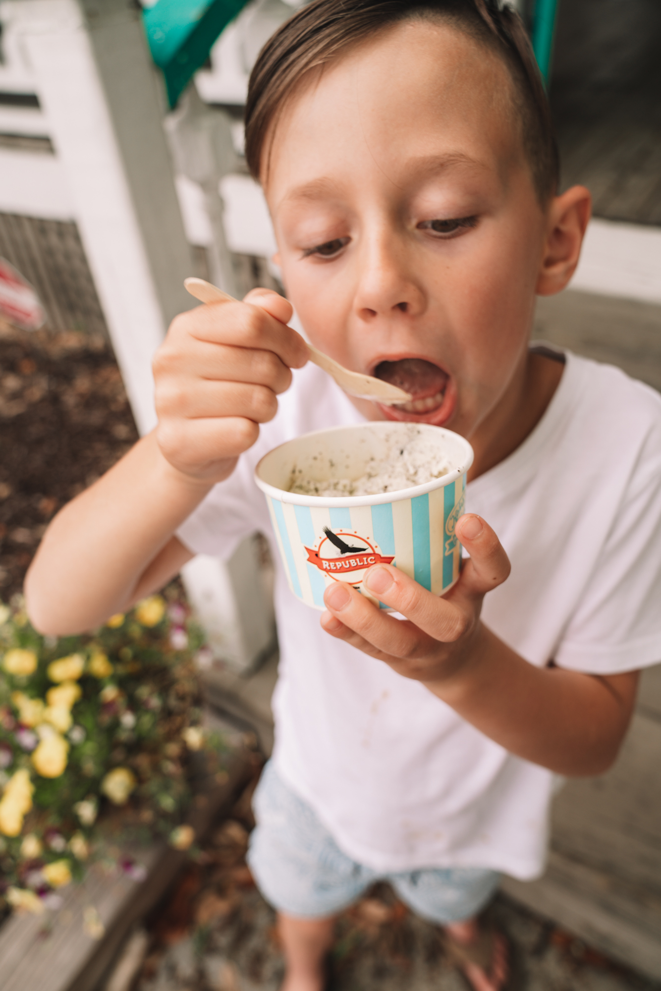 charleston sc visitors guide - a little boy devours his ice cream