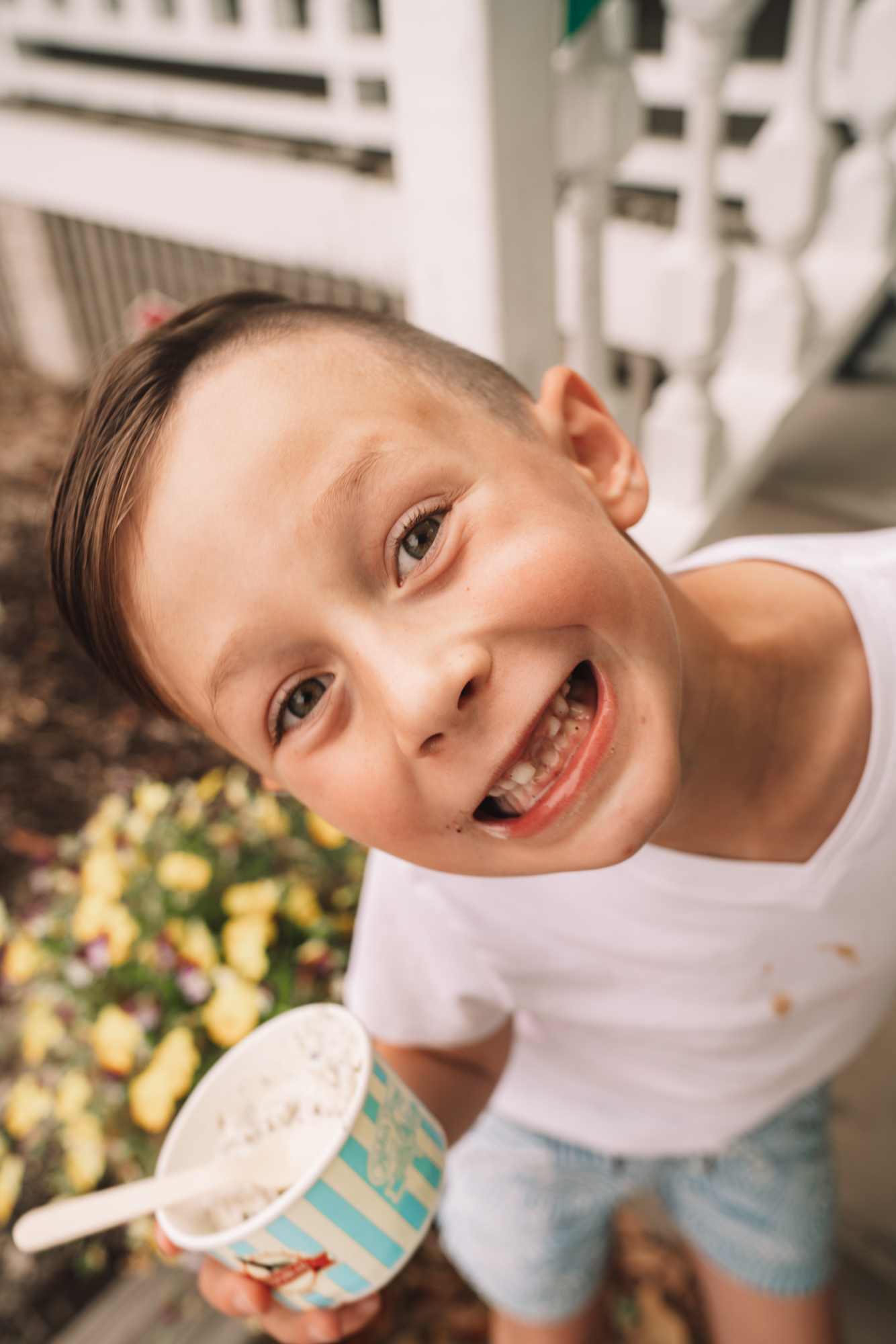 Things to do in Charleston sc with kids - a young boy smiles as he eats his ice cream