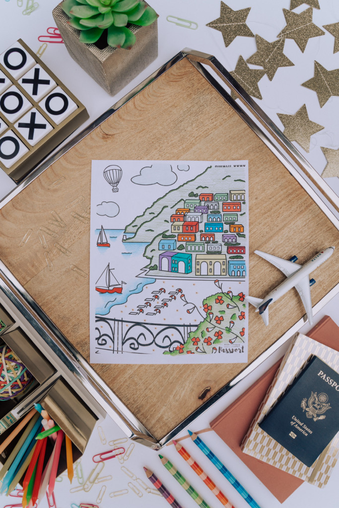 Colored Amalfi Coast Italy Coloring Page