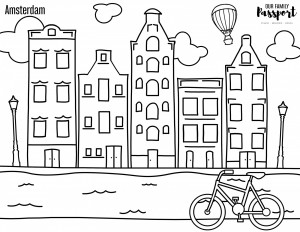 Amsterdam Netherlands Coloring Page for digital and printable learning