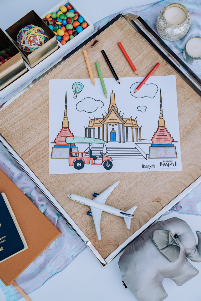 Colored Bangkok kids coloring page