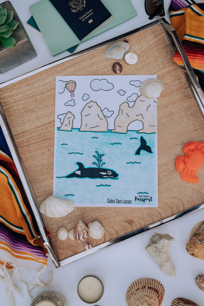 Colored Cabo Mexico beach kids coloring page