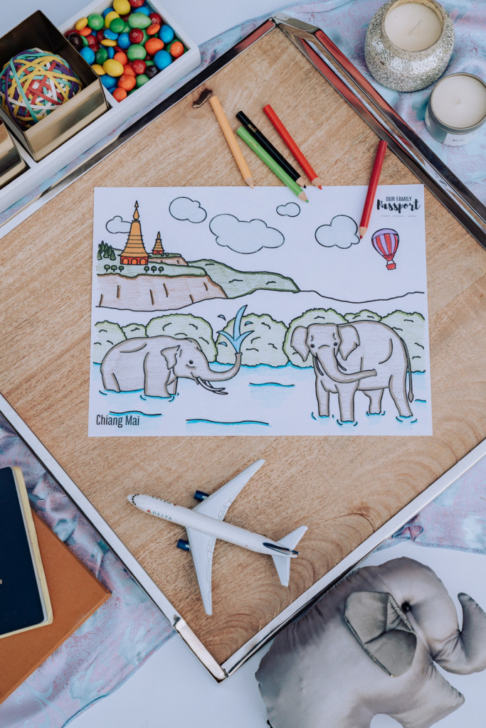 Colored Thailand coloring page with elephants